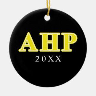 Alpha Eta Rho Yellow Letters Ceramic Ornament
