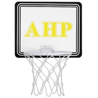 Alpha Eta Rho Yellow Letters Mini Basketball Hoops