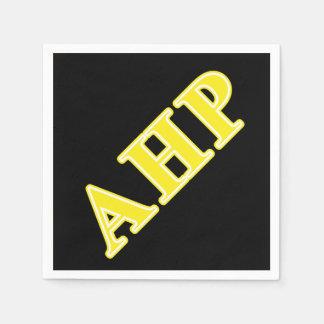 Alpha Eta Rho Yellow Letters Napkin