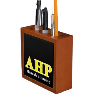 Alpha Eta Rho Yellow Letters Pencil/Pen Holder