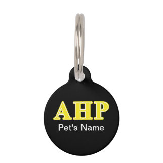 Alpha Eta Rho Yellow Letters Pet Tag