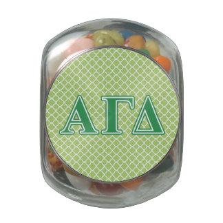 Alpha Gamma Delta Green Letters Glass Jars