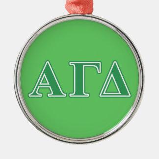 Alpha Gamma Delta Green Letters Ornaments