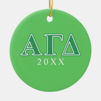 Alpha Gamma Delta Green Letters Christmas Tree Ornaments