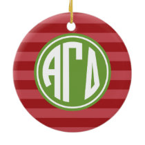 Alpha Gamma Delta | Monogram Stripe Pattern Ceramic Ornament