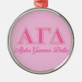 Alpha Gamma Delta Pink Letters Ornament