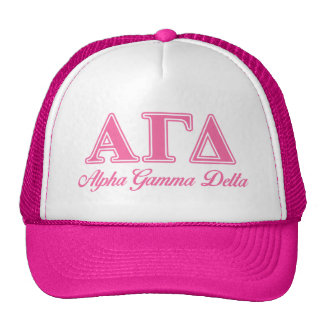 Alpha Gamma Delta Pink Letters Trucker Hat