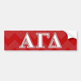 Alpha Gamma Delta Red and White Letters Bumper Sticker
