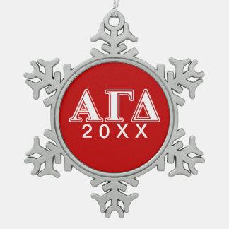 Alpha Gamma Delta Red and White Letters Ornament