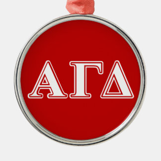 Alpha Gamma Delta Red and White Letters Christmas Tree Ornament