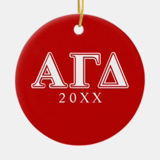 Alpha Gamma Delta Red and White Letters Christmas Ornaments
