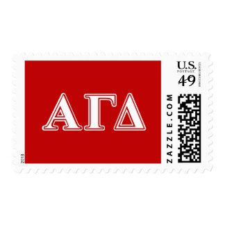 Alpha Gamma Delta Red and White Letters Stamps