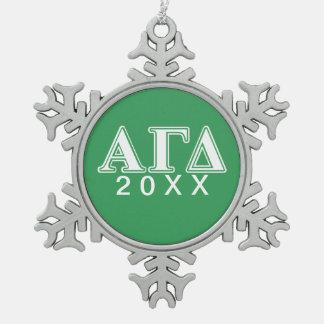 Alpha Gamma Delta White and Green Letters 2 Ornament