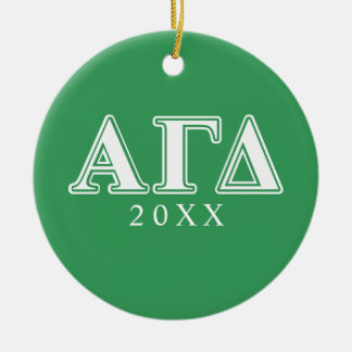 Alpha Gamma Delta White and Green Letters 2 Ornaments