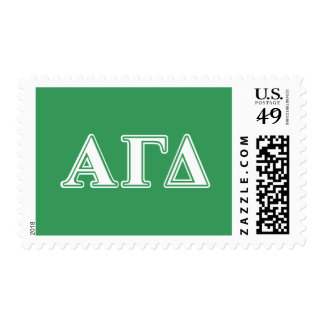 Alpha Gamma Delta White and Green Letters 2 Postage Stamps