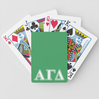 Alpha Gamma Delta White and Green Letters Bicycle Playing Cards
