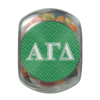 Alpha Gamma Delta White and Green Letters Jelly Belly Candy Jars