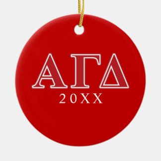 Alpha Gamma Delta White and Green Letters Christmas Tree Ornaments