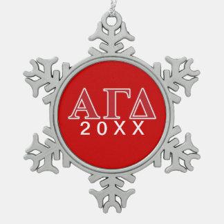 Alpha Gamma Delta White and Green Letters Ornament