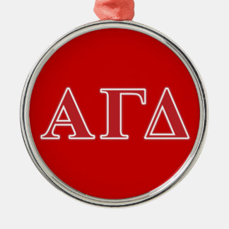 Alpha Gamma Delta White and Green Letters Christmas Ornament