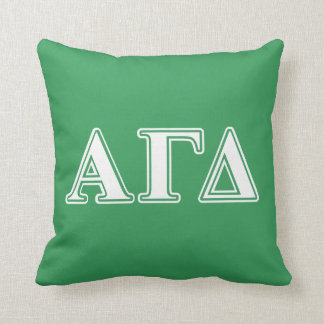 Alpha Gamma Delta White and Green Letters Pillow