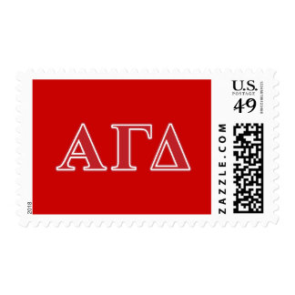 Alpha Gamma Delta White and Green Letters Stamps