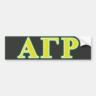 Alpha Gamma Rho Green and Yellow Letters Bumper Sticker