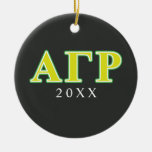 Alpha Gamma Rho Green and Yellow Letters Double-Sided Ceramic Round Christmas Ornament