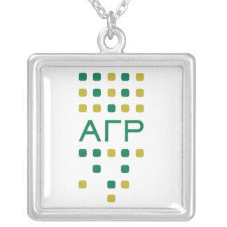 Alpha Gamma Rho - Letters Vertical Square Pendant Necklace