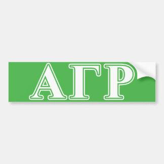 Alpha Gamma Rho White and Green Letters Bumper Sticker