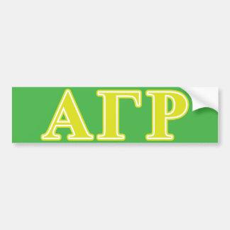 Alpha Gamma Rho Yellow Letters Bumper Sticker