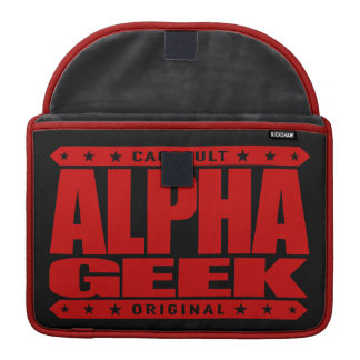 ALPHA GEEK - I Mind Control Your Universe, Red Sleeve For MacBooks