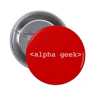 <alpha geek> pinback button
