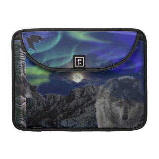 Alpha Grey Wolf, Crow & Totem Pole MacBook Sleeve