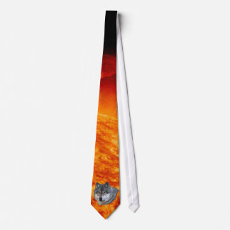 Alpha Grey Wolf & Flaming Sun Wildlife Tie