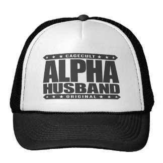 ALPHA HUSBAND - Love My Man Cave and Wife, Black Trucker Hat