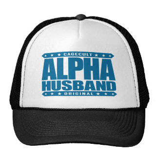 ALPHA HUSBAND - Love My Man Cave and Wife, Blue Trucker Hat