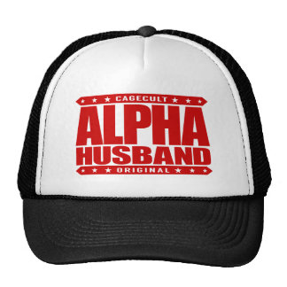 ALPHA HUSBAND - Love My Man Cave and Wife, Red Trucker Hat