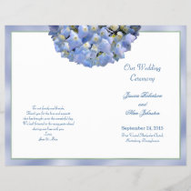 Alpha Hydrangea Folded Wedding Program Template