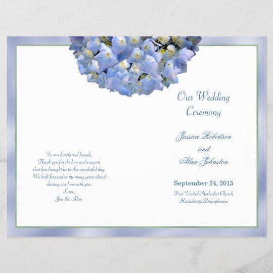 Alpha Hydrangea Folded Wedding Program Template
