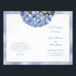 """Alpha Hydrangea Folded Wedding Program Template<br><div class=""""desc"""">Folded,  blue hydrangea wedding program template.   A big,  blue hydrangea flower decorates the front and back (when folded) with dark,  gray - blue template text.  Use the example text placement to customize all four sides of this ceremony program for your event.  Please DO Not change the paper type.</div>"""