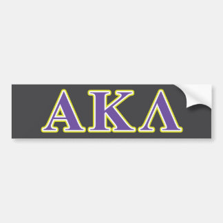 Alpha Kappa Lambda Purple and Yellow Letters Bumper Sticker