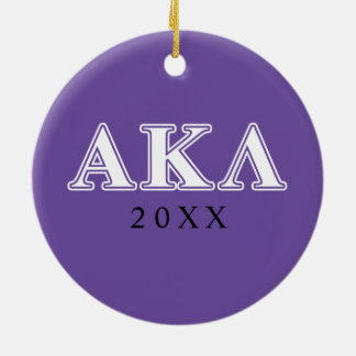 Alpha Kappa Lambda Purple and Yellow Letters Ceramic Ornament