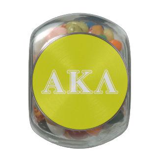 Alpha Kappa Lambda Purple Letters Glass Candy Jar