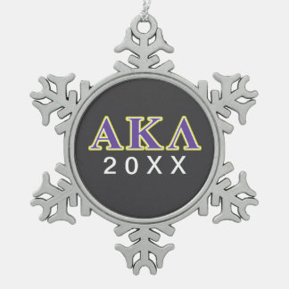Alpha Kappa Lambda Purple Letters Snowflake Pewter Christmas Ornament