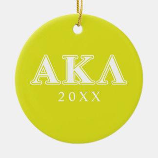 Alpha Kappa Lambda White and Purple Letters Ceramic Ornament