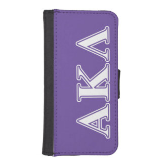 Alpha Kappa Lambda White and Purple Letters Wallet Phone Case For iPhone SE/5/5s