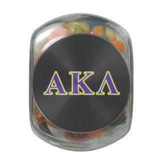 Alpha Kappa Lambda White and Yellow Letters Glass Candy Jars
