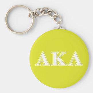Alpha Kappa Lambda White and Yellow Letters Key Chain