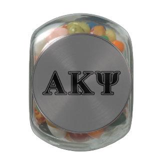 Alpha Kappa Psi Black Letters Glass Jars